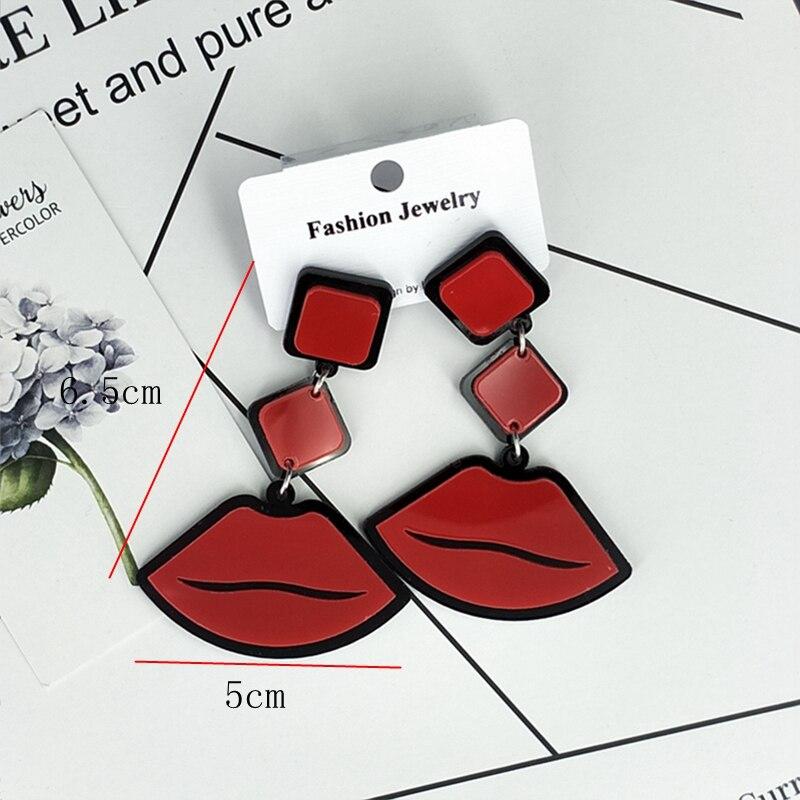 2019 Korean Fashion Long Earring Big Heart Figure Lips Tassel Geometric Acrylic Drop Earrings For Women Punk Jewelry Accessories