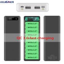 بنك طاقة مع منفذي USB ، صندوق شحن سريع 18650 ، 3.0 مللي أمبير ، Micro Type C ، 10x30000