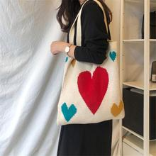 Cute Women Knitting Tote Ladies Casual Printing Shoulder Bag Foldable Reusable Winter Fashion Female Shopping Bags Beach Bag
