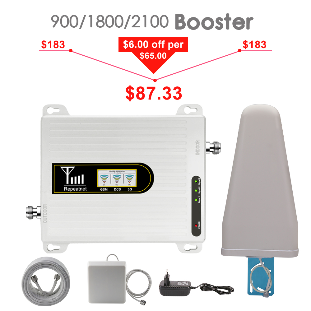 2019 Cellular Signal Booster 900 1800 2100 Tri Band Signal Repeater GSM 2g 3g 4g DCS