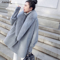 Luzuzi Fashion Women's Spring Woolen Coat Animal Fur Large Size Warm Wool Coat Loose Thick Long Jacket CR3871