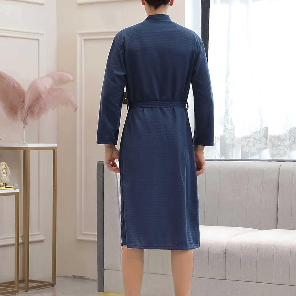 Mens di Modo Morbido Accappatoio Assorbente Leggero Lungo Kimono Cialda Maschio Spa Accappatoio Uomo Pigiama 2019 Nuovo