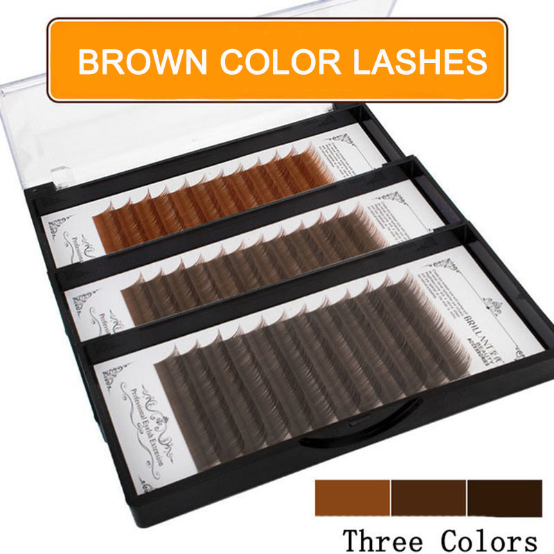 BRILLANT Fashion Dark Brown Color Classic Lashes Black Coffee False Eyelashes Extensions Natural Soft Density Row Caramel
