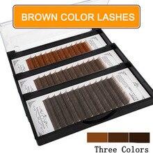BRILLANT Fashion ciemnobrązowy kolor klasyczne rzęsy czarna kawa sztuczne kolorowe przedłużanie rzęs naturalna miękka gęstość karmelu
