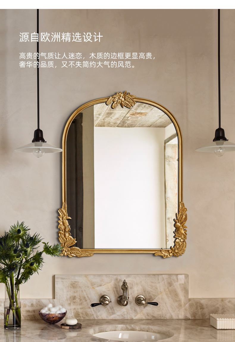Vintage Carved Mirror Bathroom Mirror Home Decoration Custom