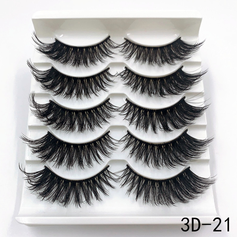 Mink eyelashes 5 pairs of handmade 3d mink lashes natural eyelashes extended beauty makeup false eyelashes 4