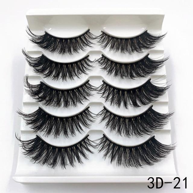 Mink eyelashes 5 pairs of handmade 3d mink lashes natural eyelashes extended beauty makeup false eyelashes 4