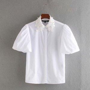 Blusa zaraing para mulheres, camisa branca de algodão em crochê, nova blusa feminina estilo vadiming e bainha, primavera e verão, 2020