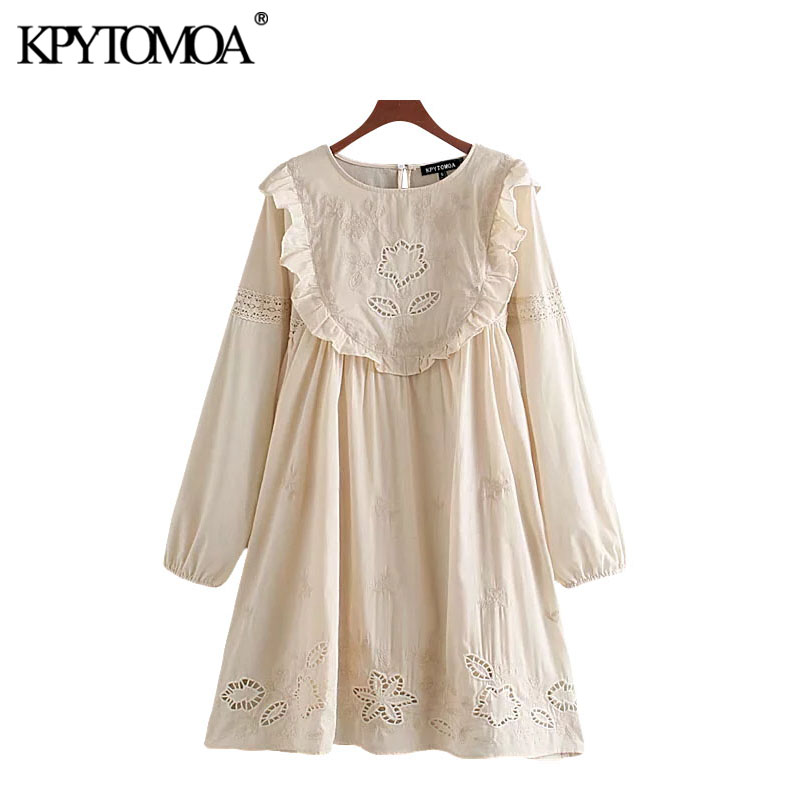 KPYTOMOA Women 2020 Sweet Fashion Cutout Embroidery Ruffled Mini Dress Vintage O Neck Long Sleeve Female Dresses Vestidos Mujer