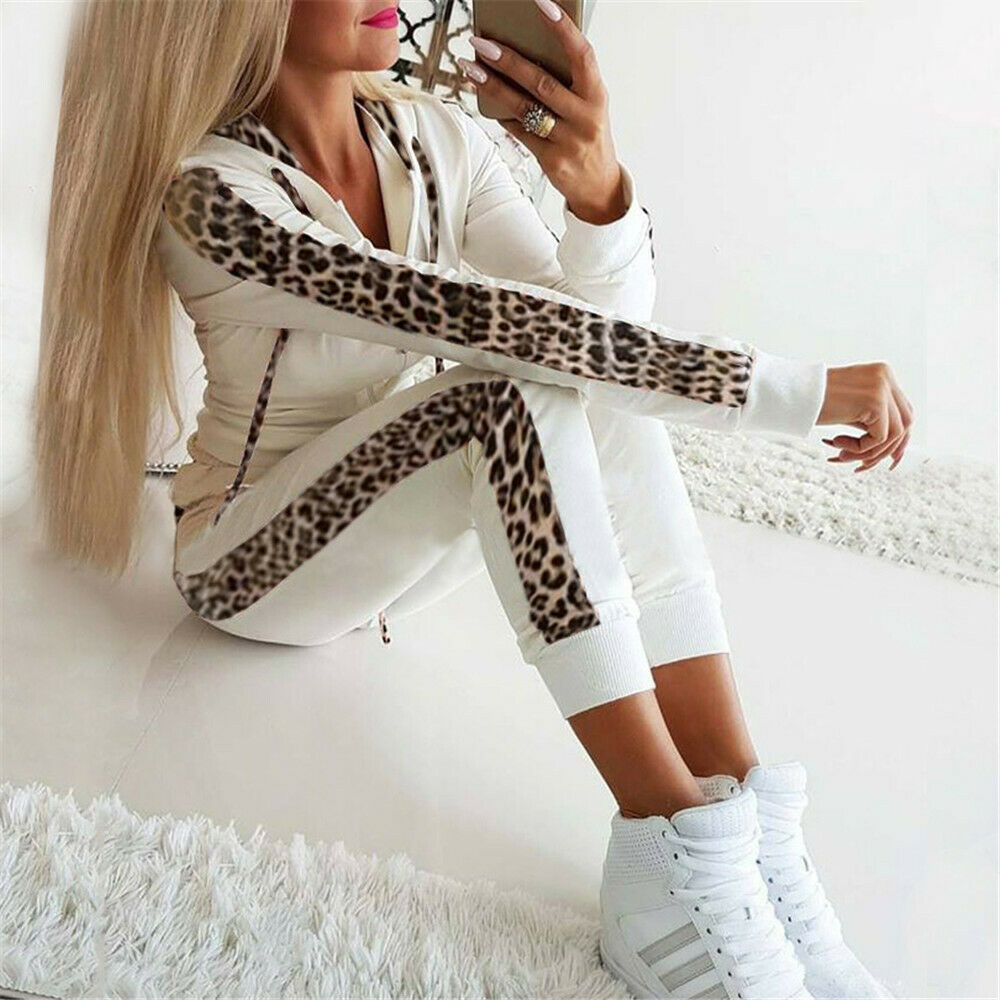 Retro Fashion Casual 2Pcs Women Leopard  Tracksuit Sweatshirt Sweat Suit Jogging Hot Long Seleeve Hoodies Sports Tops Pants