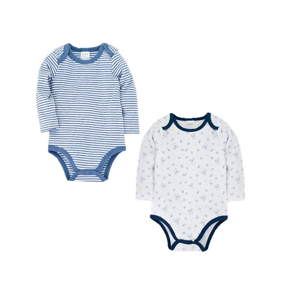 Kavkas Cotton New Born Bodysuits 2PCS/Lot Blue Striped Baby Girl Boy Jumpsuit Ropa Bebe Long Sleeve Infant Pyjamas Bebe 0-12M