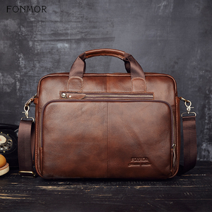 Image 3 - Fonmor Men Genuine Leather Briefcase 15.6Laptop Messenger Bags Female Business Crossbody Shoulder Bags Casual Tote Handbag New