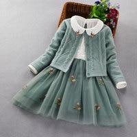 Elegant Girls clothing set new 2020 spring autumn Kids princess coat+dress 2Pcs suit for girl party children clothes 3 5 8 9Year