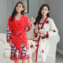 2PCS SexyThick Warm Flannel Nightgown Robe Sets for Women Winter Long Sleeve Coral Velvet Sleepwear Bathrobe Dress Two Piece Set(China)