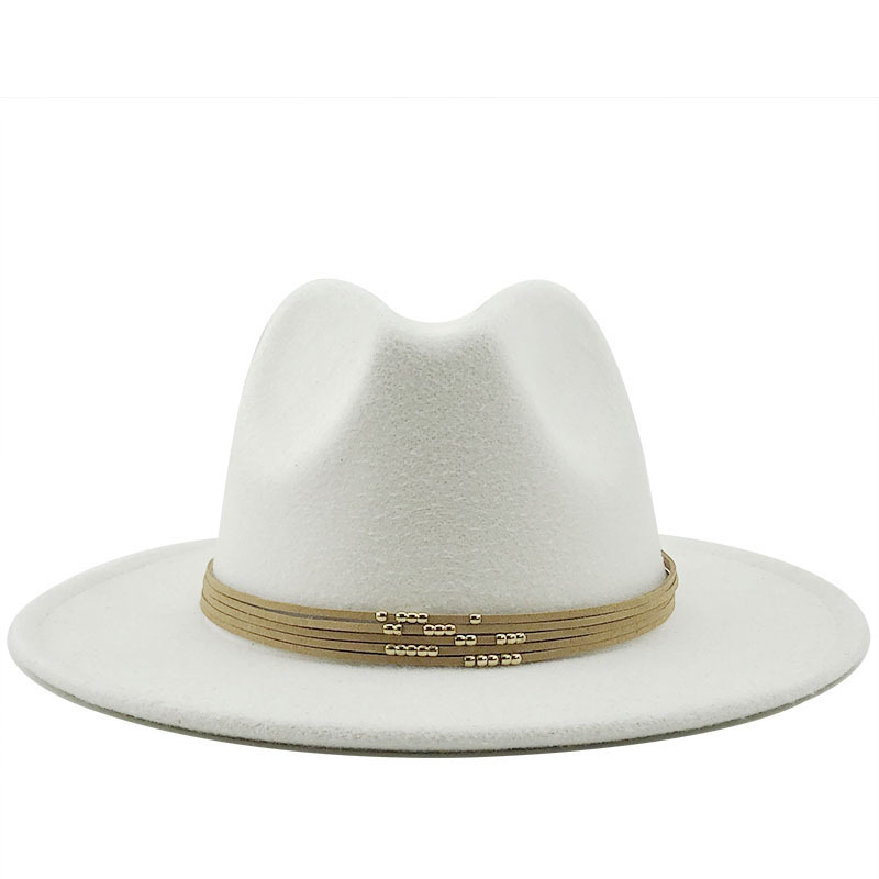 Wool Jazz Fedora Hats Casual Men Women Leather Suede Belt Felt Hat White Pink Yellow Panama Trilby Formal Party Cap 58-61CM
