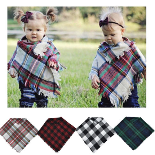 2020 Winter Fashion Kids Toddler Girl Boy Warm Plaid Wool Scarf Tippet Jacket Xmas Coat Shawl  For Baby Toddler 3-5Y