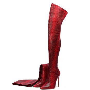 Women Faux Snake Leather Over the Knee Boots Sexy Thin High Heel Stretch Boots Woman Pointed Toe Zipper Autumn Boots