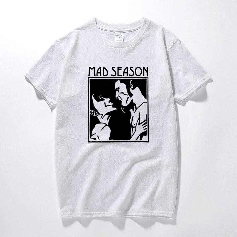 Temporada louca acima t camisa música grunge rock alice em correntes gritando árvores novo verão roupas masculinas de algodão tshirt tamanho euro
