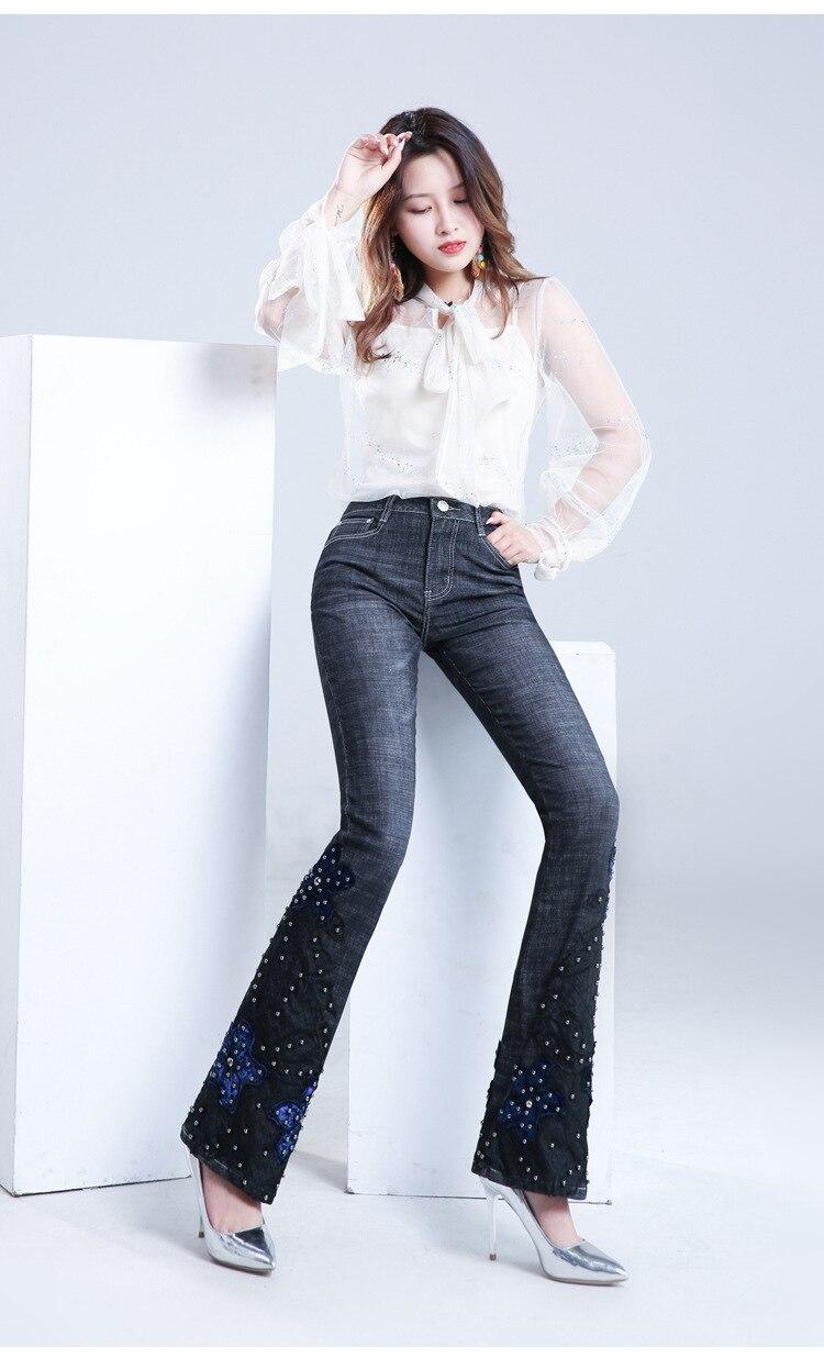 KSTUN FERZIGE Jeans Women Embroidered Hand Beads Black Blue High Waist Stretch Denim Pants  Bell Bottom Sexy Lady Jeans Boot Cut Mujer 13