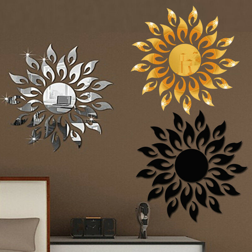 Flower Decal 3D Mirror Wall Sticker Removable Art Mural Home Room Decor DIY
