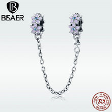 BISAER Stopper New 100% 925 Sterling Silver Spring Daisy Flower Charm Beads fit Bracelet Jewelry GXC602