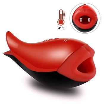 Multi-frequency vibration penis delay trainer male masturbator vibrator automatic oral orgasm glans stimulation massager 0741-