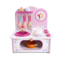 Juguete para niños Mini cocina bebé juego casa madera sistema mei qi zao tai Set regalo para niñas 2