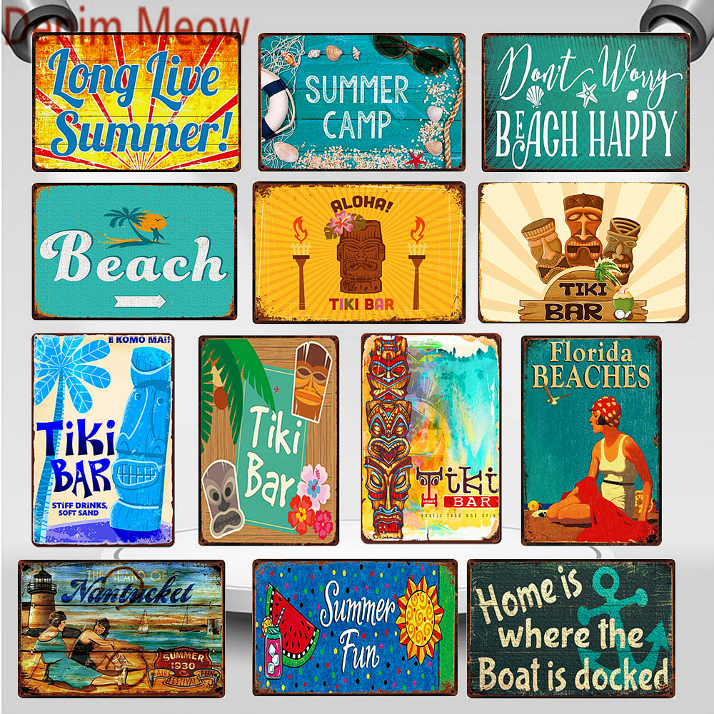 Shabby Chic Tiki Bar Florida Beach Metal Signs Vintage Summer Camp California Surfing Paradise Wall Art Stickers Home Decor WY92(China)