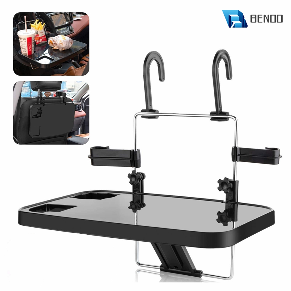 BENOO Black Silver Foldable Car Seat Back Tray for Food Dining Drink and Laptop Desk Portable Hanging Car Steering Wheel Table