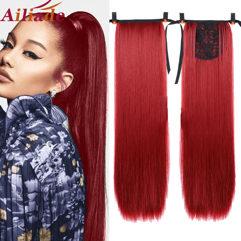 """AILIADE Afro Fake Hair Bun Red Straight Drawstring Ponytail Wig False Hairpiece Ponytail Synthetic Clip In Hair Extensions 22"""""""