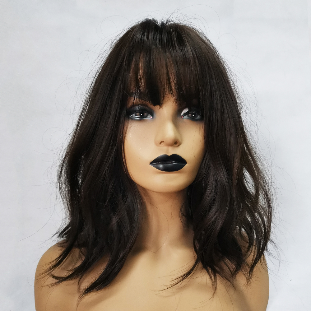 LOUIS FERRE Short Water Wave Synthetic Hair Wigs for Women Heat Resistant Fiber Daily False Hair Bobo Black Brown Wig with Bangs