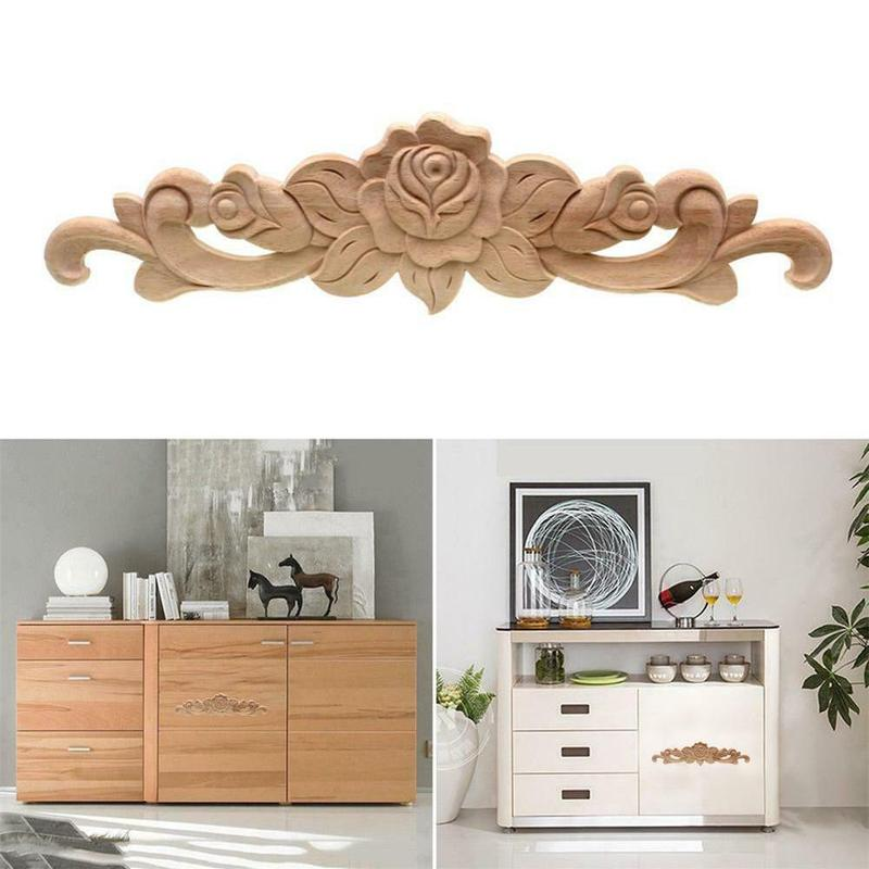 Rectangle Carving Natural Wood Appliques For Furniture Cabinet Unpainted Wooden Mouldings Decal Vintage Decoration Accessories 4