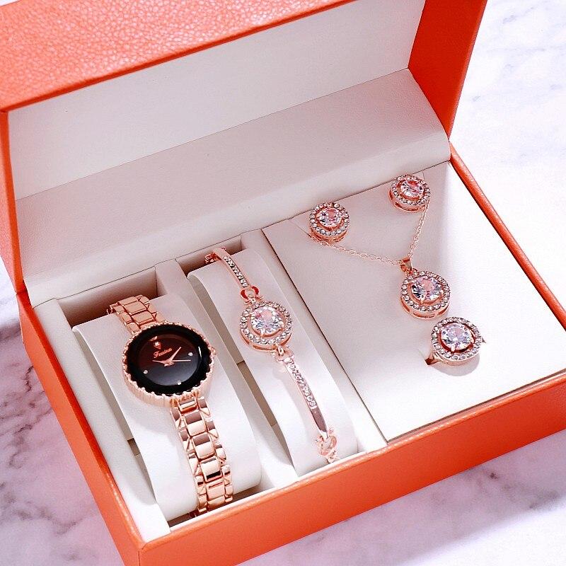 Relógio de Pulso Caixa de Presente Novo Relógio Feminino Pçs Relógios Femininos Pulseira Conjunto Casual Vestido Quartzo 2020 6