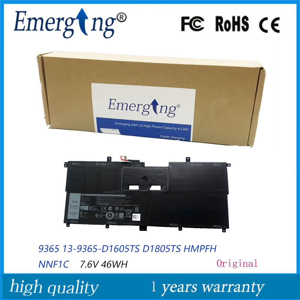 7.6V 46WH New Original  Laptop Battery NNF1C  For Dell 9365 XPS13 13-9365-D1605TS D1805TS HMPFH NNF1C