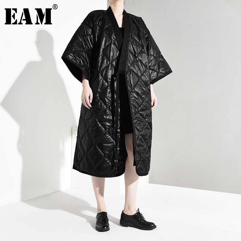 [EAM] Бандажное теплое пальто с хлопковой подкладкой большого размера женские свободные парки с длинными рукавами модная новинка осень-зима 2019 JD1860