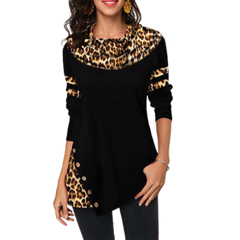 Plus Size 5XL Leopard Print Patchwork O-Neck T-Shirt Top Elegant Women Autumn Winter Casual Loose Pullover Female Fashion Tee image