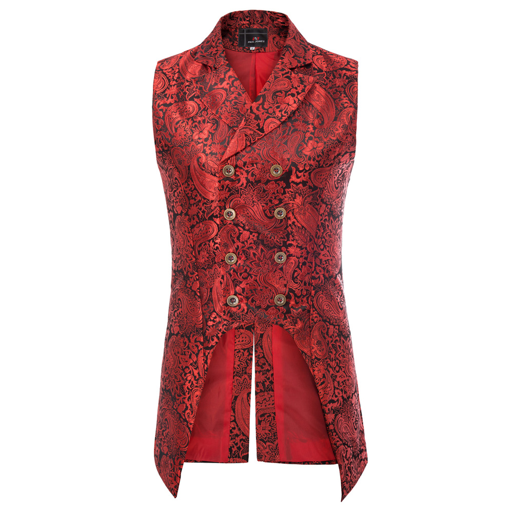 H3b1fcfcccbf940869884fe0342e18e68k vintage style Men coats medieval Steampunk Gothic Sleeveless Lapel Collar Double-Breasted formal prom party Jacquard Coat