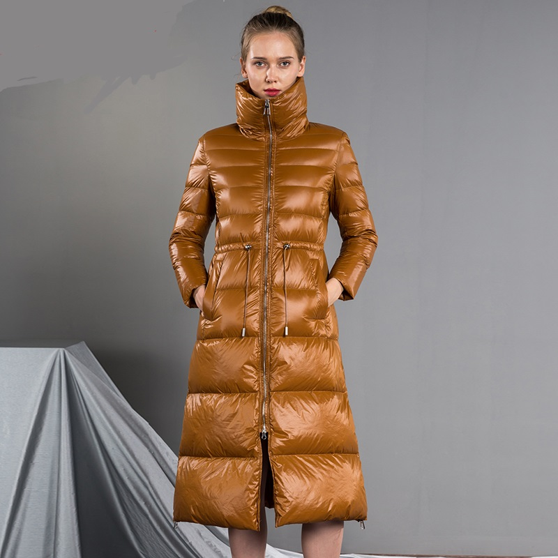 Winter Fashion Thicker Warm Fluffy Down Coat Female Over The Knee Longer Catwalk Glossy Fabric Duck Down Jacket F356