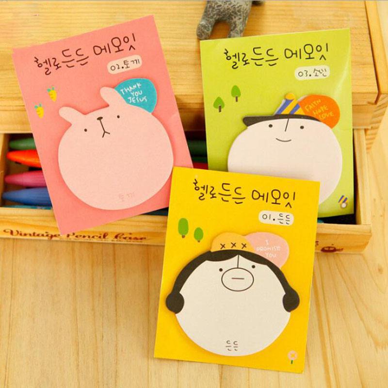 1pc Cute Stationery Cartoon Head Sticky Notes Sticky Notes N Times Post Office Learning Notes Note Reminder Label Stickers
