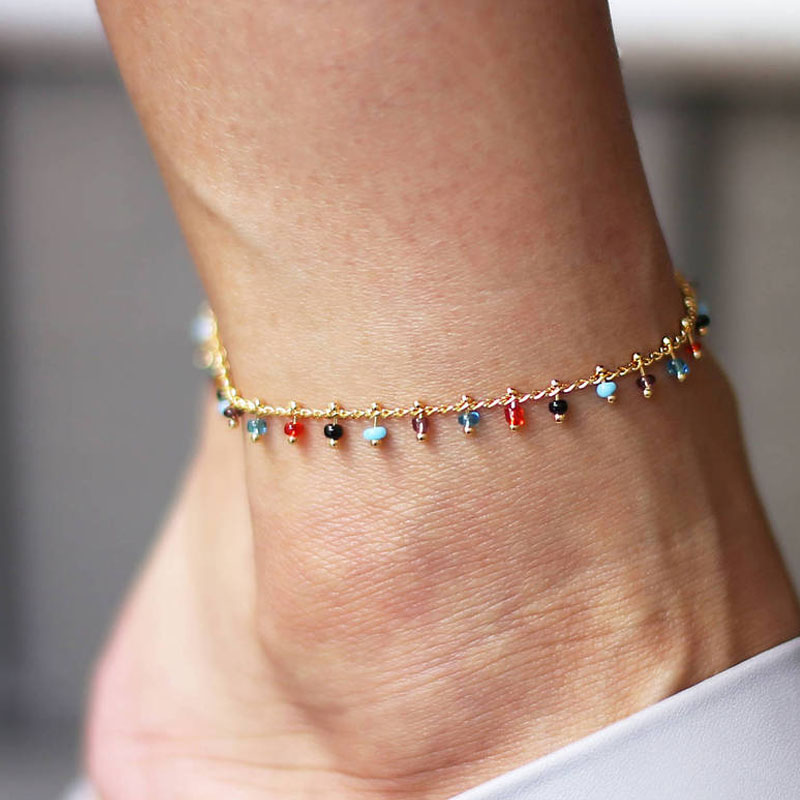 Fashion Trendy Foot Jewelry Colorful Crystal Rhinestone Drop Anklet Summer Barefoot Ankle Leg Bracelets Gift for Women Girl
