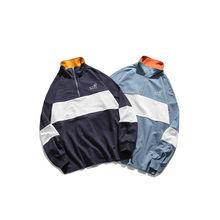 2020 outono masculino casaco fino gola estilo metade zíper correspondência cor solta hoodie