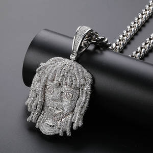 Pendant Necklace Full-Iced-Out Jewelry Charms Cz-Chains Hip-Hop Silver-Color Men Freewear