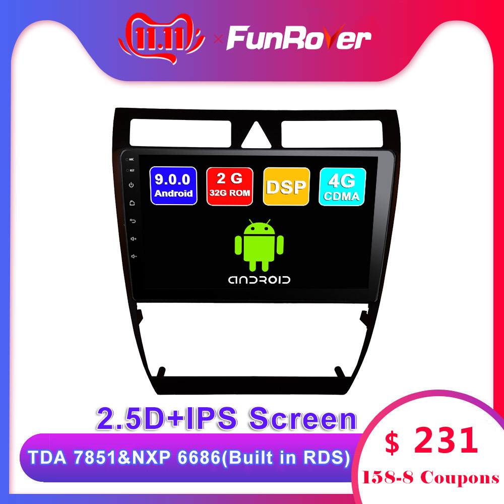 Funrover 2 din 2.5D+IPS <font><b>Android</b></font> 9.0 car dvd player For <font><b>Audi</b></font> <font><b>A6</b></font> S6 RS6 Allroad radio gps navigation accessories multimedia stereo image