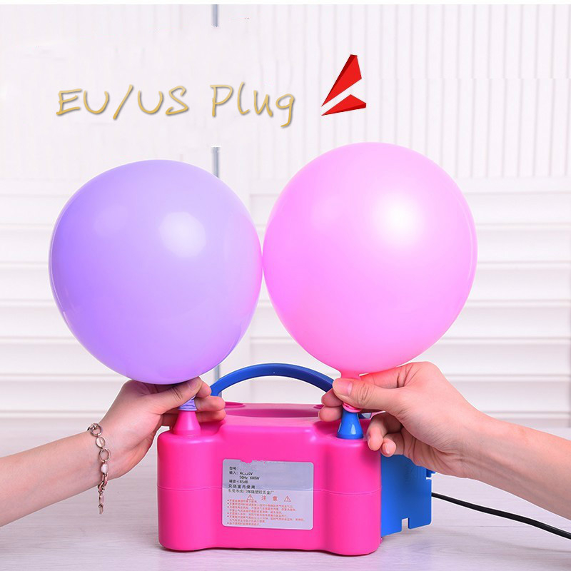 1 Set Birthday Party Balloons With Portable Electric Balloon Pump Plug Double Hole Nozzle Baby Shower Decorations Kids Toys