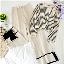 New Spring 2020 College Style Trousers Suit Casual Female Round Neck Long Sleeve Stripes Sweater + High-waist Slit Knitted Pants brown cross straps front round neck slit hem knitted jumper