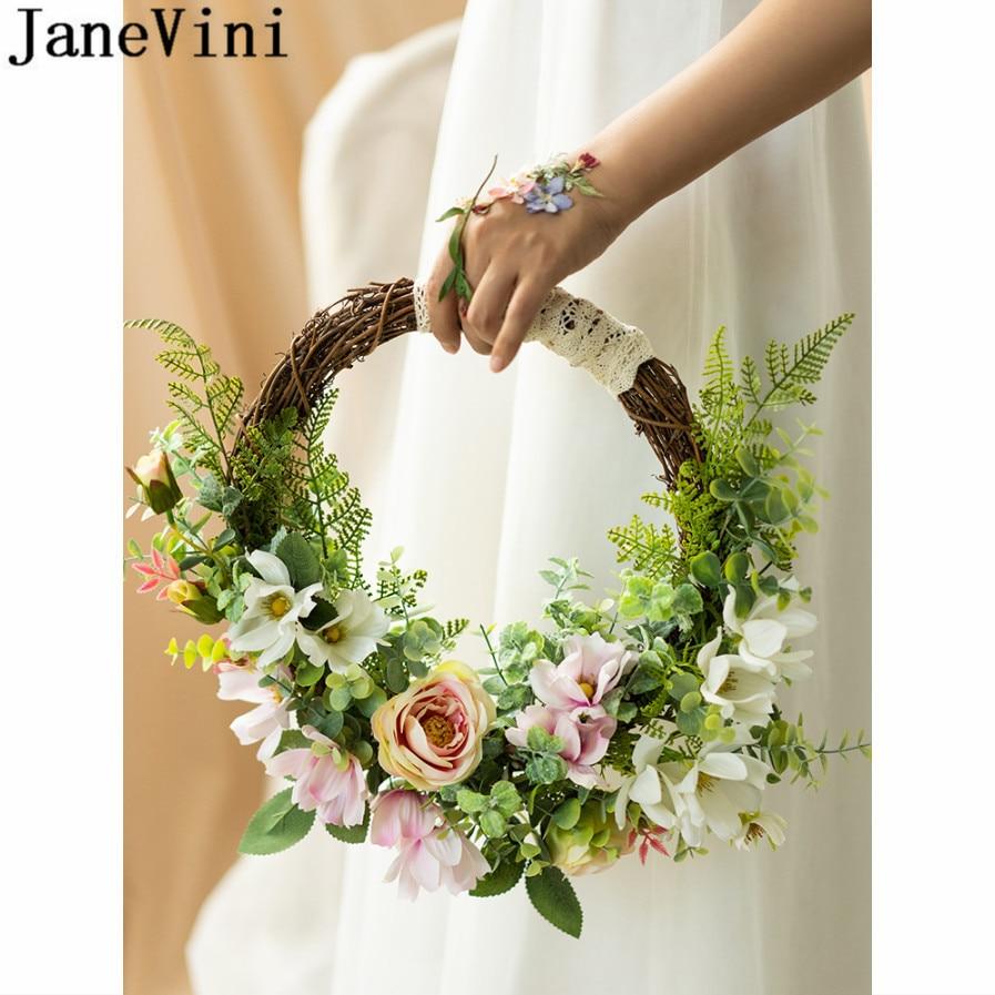 JaneVini Round Wedding Wreath Bridal Bouquets Pink Artificial Flower Basket Bride Bouquet Bridesmaid Silk Flower Bouquet Knocker