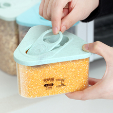 1pc Kitchen Plastic Triangle Covered Fresh Food Saver Cereal Grain Bean Rice Storage Box Sealed Cans Container Cases Storage Jar