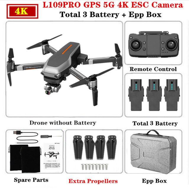 L109 PRO GPS 5G WIFI 4K 3 batteries With EPP Box