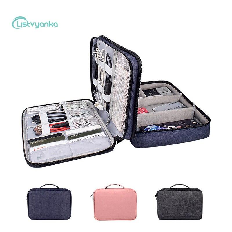 Органайзер для кабеля, сумка, электронный цифровой гаджет для хранения, многофункциональная большая емкость, зарядное устройство для наушн...
