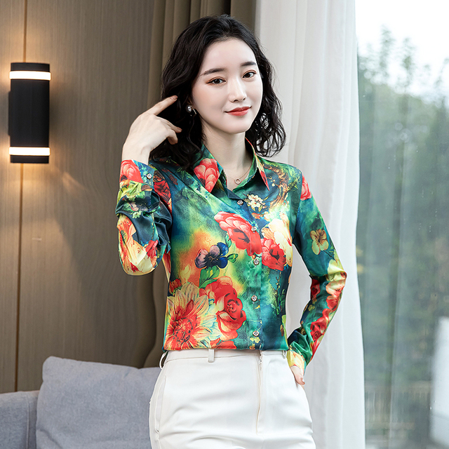 TingYiLi Vintage Printed Blouse Shirt Women Long Sleeve Boho Shirt Spring Autumn Korean Elegant Plus Size Top Female 2